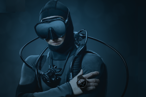 Scuba diver watch ad for Shearwater